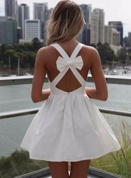 Robe mariage noeud dos bretelles croisee courte chic